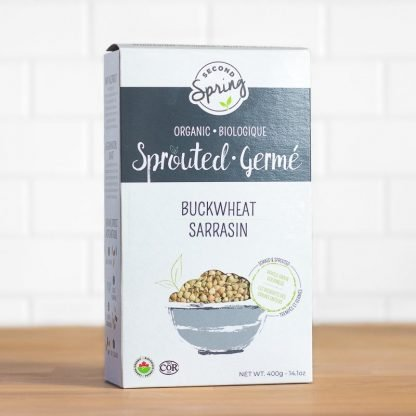 A box of organic sprouted buckwheat