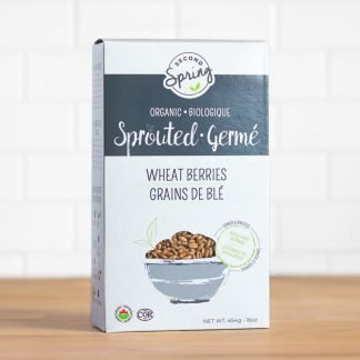 A box of organic sprouted wheat berries
