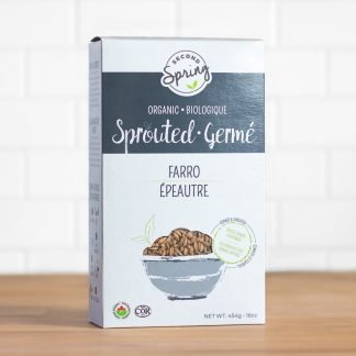 A box of organic sprouted farro