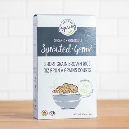 A box of sprouted short grain brown rice