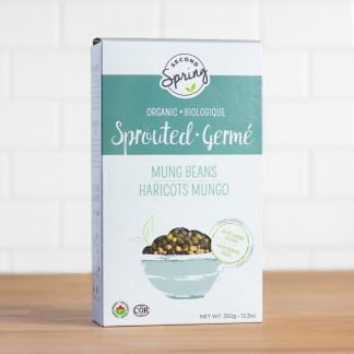 A box of organic sprouted mung beans