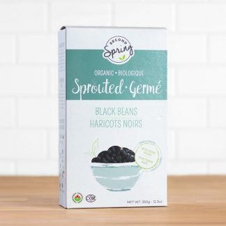 A box of organic sprouted black beans