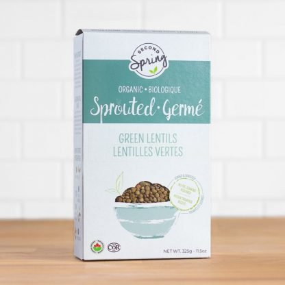 A box of organic sprouted green lentils