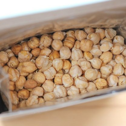 Inside a box of organic sprouted chickpeas