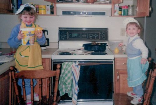 Dianne and Michelle Donaldson Baking as children