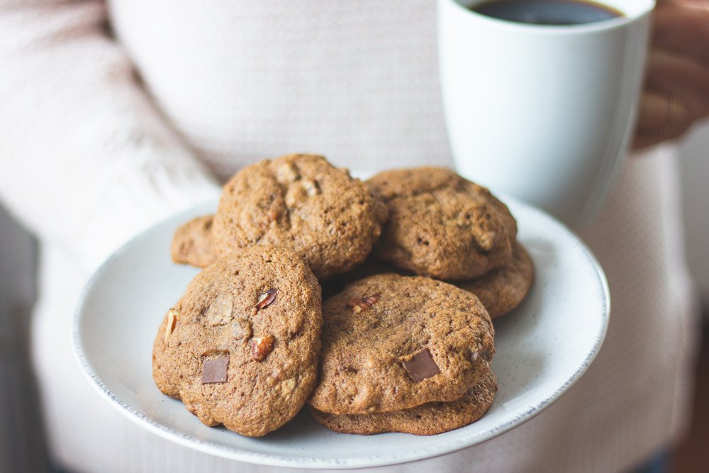 A plate of sprouted buckwheat chocolate chip cookies