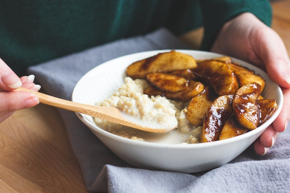 Sprouted Millet Porridge with Caramelised Apple