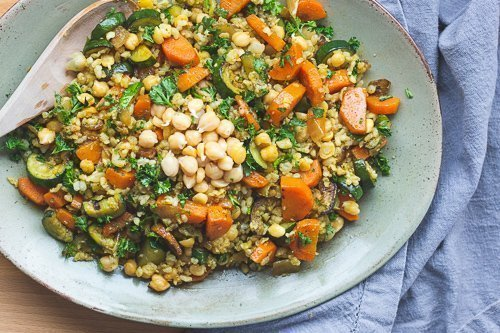 Sprouted Rice & Chickpeas with a Moroccan Twist!
