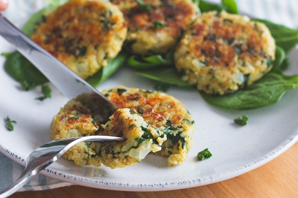 Sprouted Millet Spinach & Feta Fritters