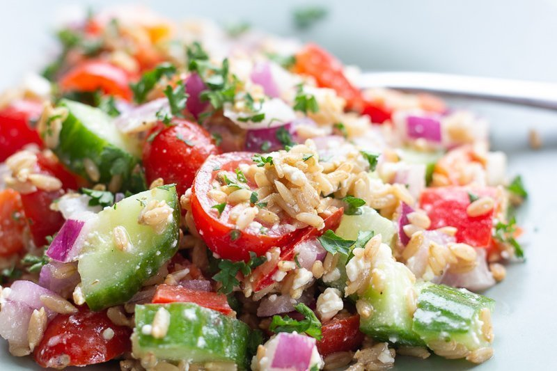 Close up of sprouted hulless oat salad