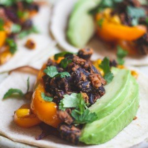 Sprouted black bean tacos