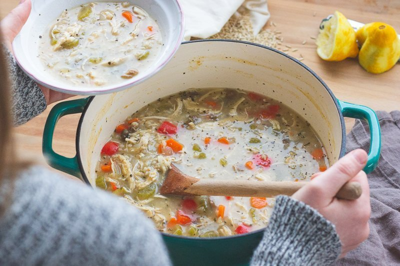 Cozy Lemon Chicken Soup with Sprouted Brown Rice