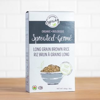 A box of sprouted long grain brown rice