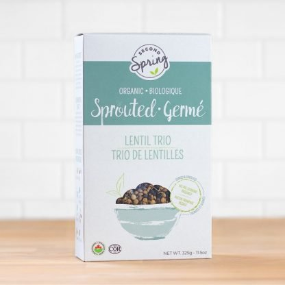 A box of organic sprouted lentils
