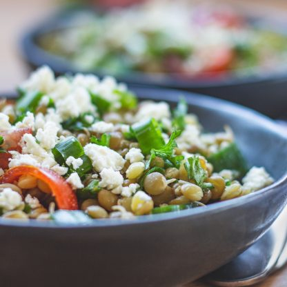 A simple sprouted green lentil salad