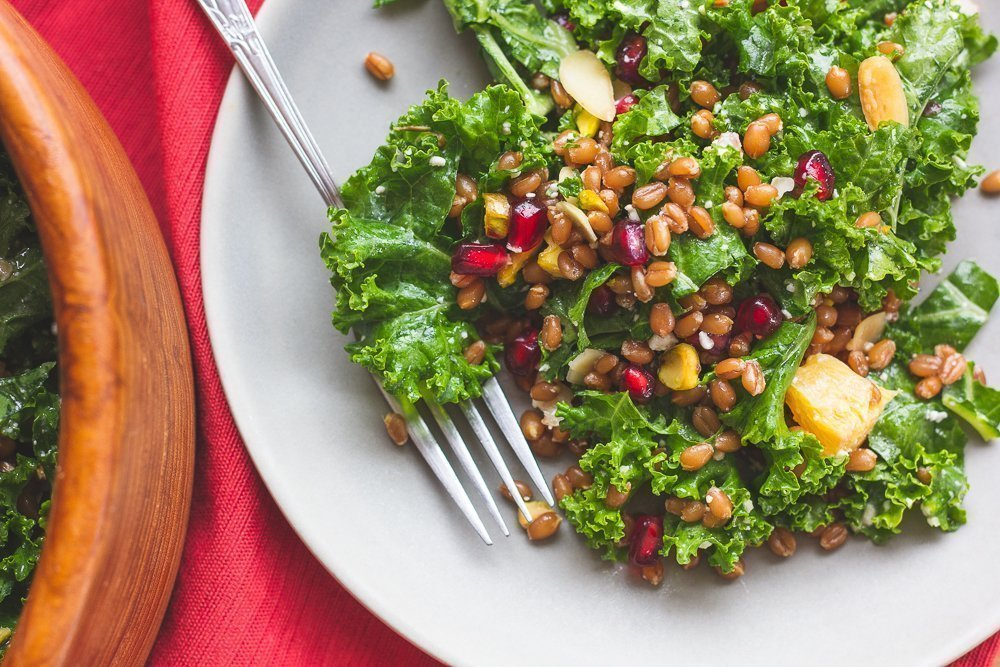 Sprouted Wheat Berry and Kale Salad on a plate
