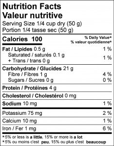 Sprouted Wheat Berries nutrition facts panel