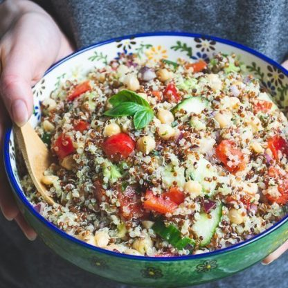 A bowl of sprouted quinoa salad