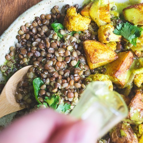 Curried sprouted lentil salad