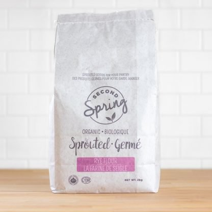 A bulk bag of sprouted rye flour