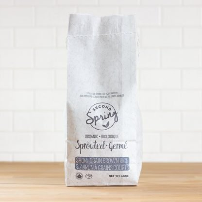 A bulk bag of organic sprouted short grain brown rice